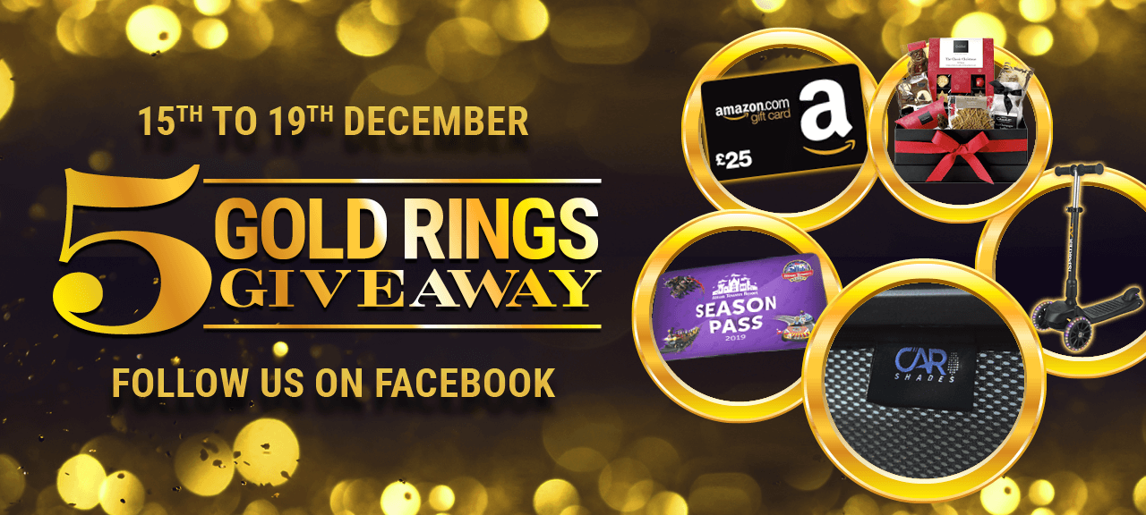5 Gold Rings Giveaway - Follow Us On FaceBook