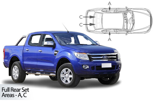 UV Car Shades (Set of 4) Ford Ranger Double Cab 2011>