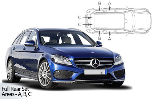UV Car Shades - Mercedes C-Class Estate 2014> Full Rear Set
