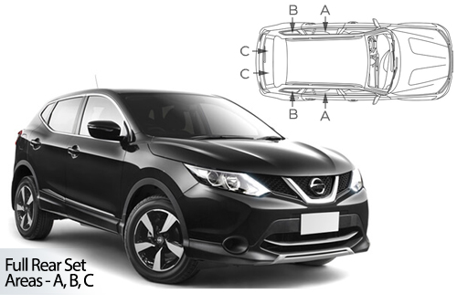 UV Privacy Car Shades - Nissan Qashqai 2013> Full Rear Set