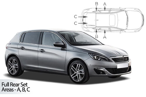 UV Car Shades - Peugeot 308 5dr 2013> Full Rear Set