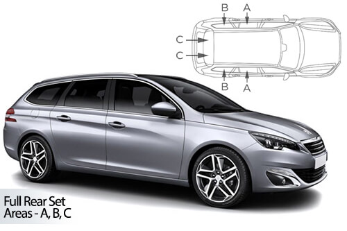 UV Car Shades - Peugeot 308 Estate 2013> Full Rear Set